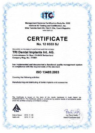 TRI Dental Implants Int. AG Сертификат ISO 13485:2012