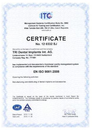 TRI Dental Implants Int. AG Сертификат ISO 9001:2008